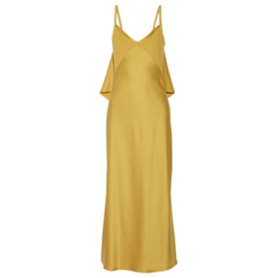 Ruffled Satin Crepe Gown