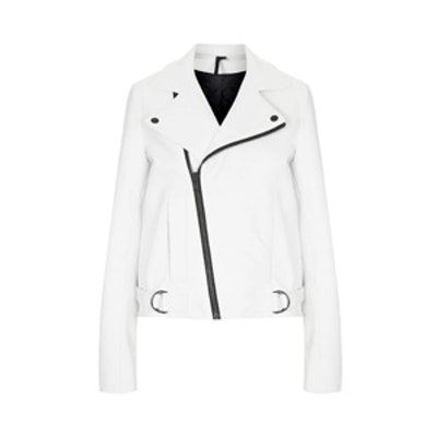 White Leather Biker Jacket