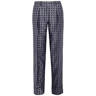 Silk-Foulard Wide-Leg Pants
