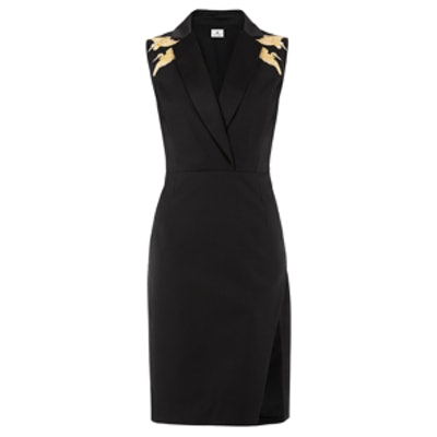 Structured Dress with Crane Embroidery