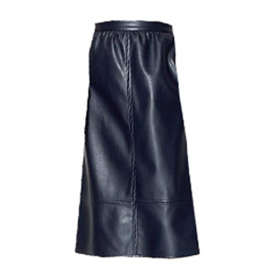 Collection Faux Leather Midi Skirt in Navy
