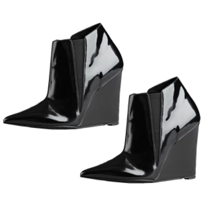 Patent Leather Wedge Ankle Boot