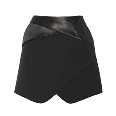 Satin-Trimmed Wool Mini Skirt