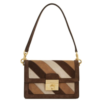 Stripe Suede Shoulder Bag