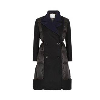 Wool Blend-Paneled Quilted Shell Coat