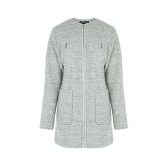 Zip Detail Boucle Coat