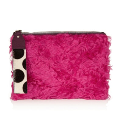Shearling and Calf Hair Clutch