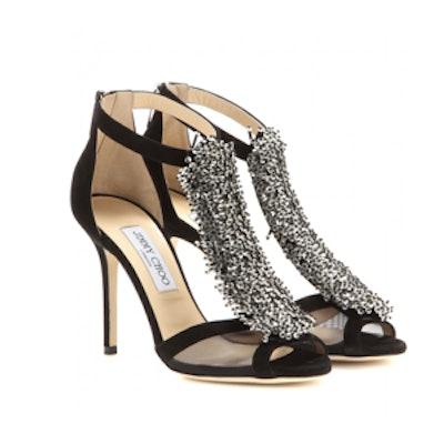 Feline Embellished Suede Sandals