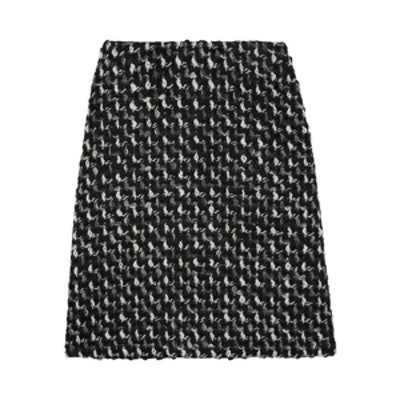 Wool and Cotton Blend Boucle-Tweed Skirt