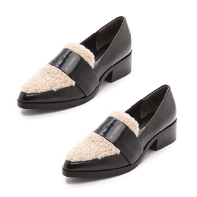 Loafers with Shearling Trim
