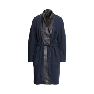 Wool Coat With Leather Lapels