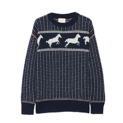 Fair Isle Horses Cotton Blend Sweater
