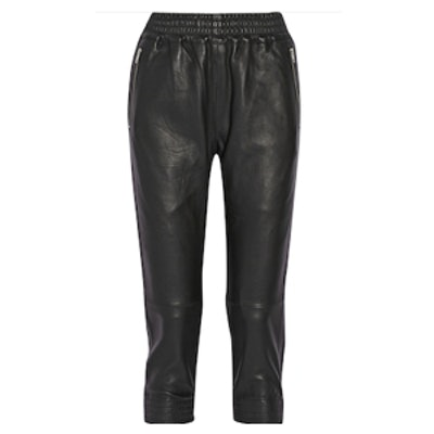 Cropped Leather Track Pants