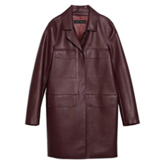 Straight Cut Faux Leather Coat
