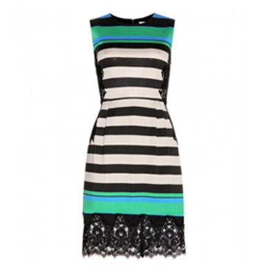 Lace Trimmed Striped Dress