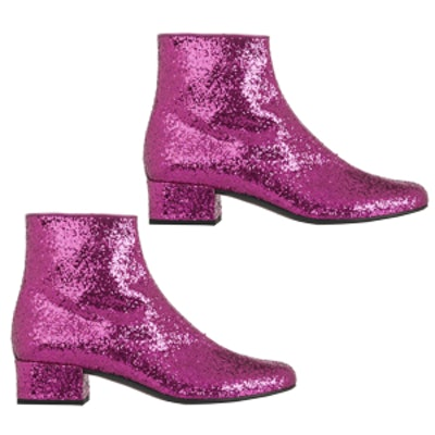Glitter-Finished Ankle Boots