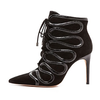 Lace Up Booties With Snakeskin Trim