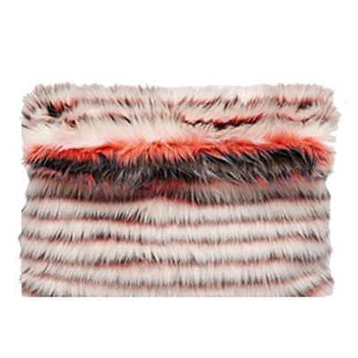 Stripe Fur Roll Top Clutch