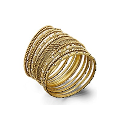 Gold Textured Bangle Bracelet Set