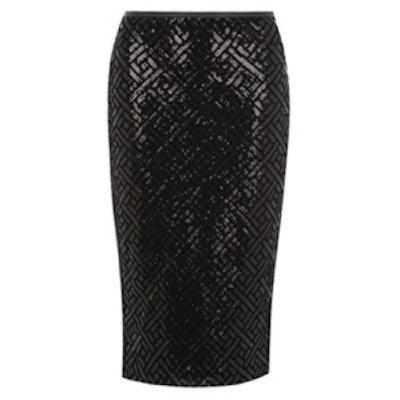 Black Sequin Pencil Skirt