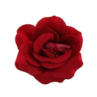 Red Rose Flower Hair Clip