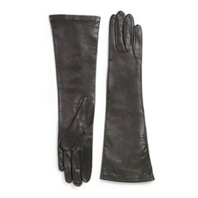 Grey Long Leather Gloves