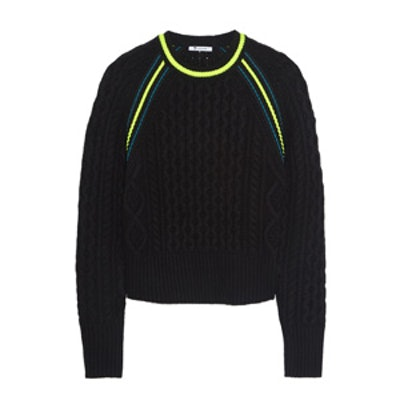 Neon Trimmed Cable Knit Sweater