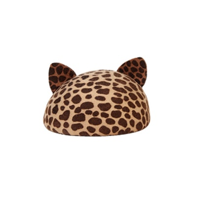 Leopard Print Beret with Cat Ears