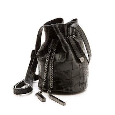 Croc-Embossed Mini Bucket Bag