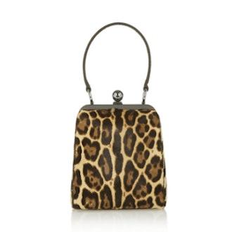 Agata Leopard Print Calf Hair Clutch