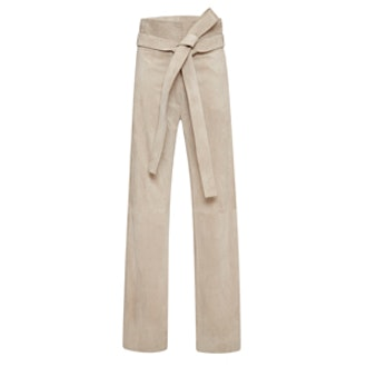 Grey Calf Suede Trousers