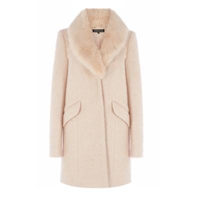 Tweed Faux Fur Collar Coat