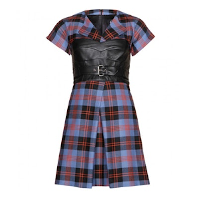 Plaid Wool and Leather Dress