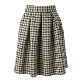 Houndstooth Pattern Midi Skirt
