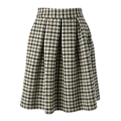 Houndstooth Pattern Midi Skirt