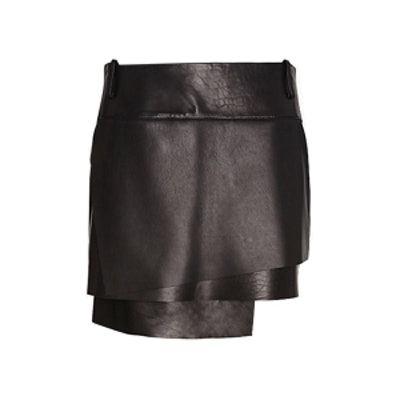 Petal Layered Leather Skirt