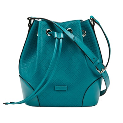 Diamante Leather Bucket Bag in Teal