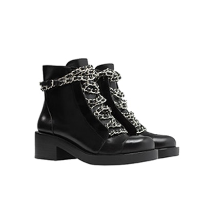 Lace-up Booties with Chains