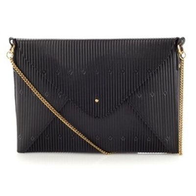 Black Embossed Leather Clutch
