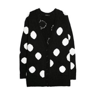 Polka-Dot Wool-Blend Cardigan