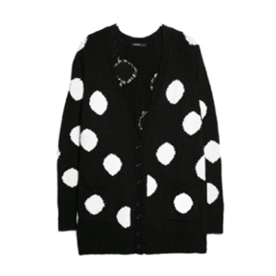 Polka-Dot Wool-Blend Cardigan