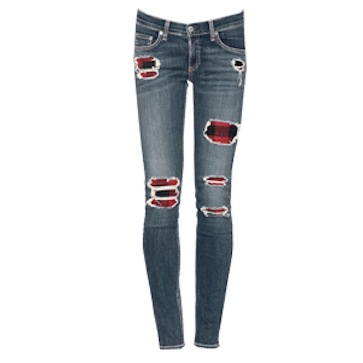 Distressed Tartan Jeans