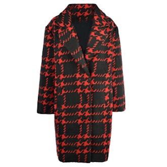 Red Label Houndstooth Pattern Longline Coat