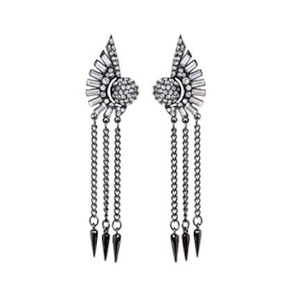 Gunmetal Fan Dagger Earrings