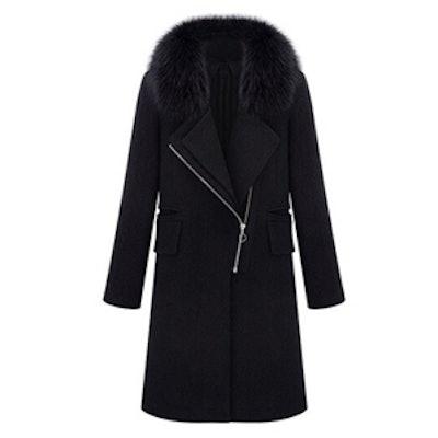 Faux Fur Black Zippered Coat
