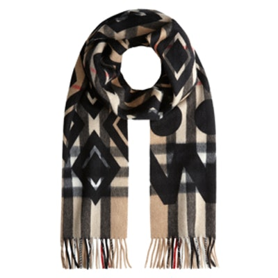 Graphic Overprint Check Cashmere Scarf