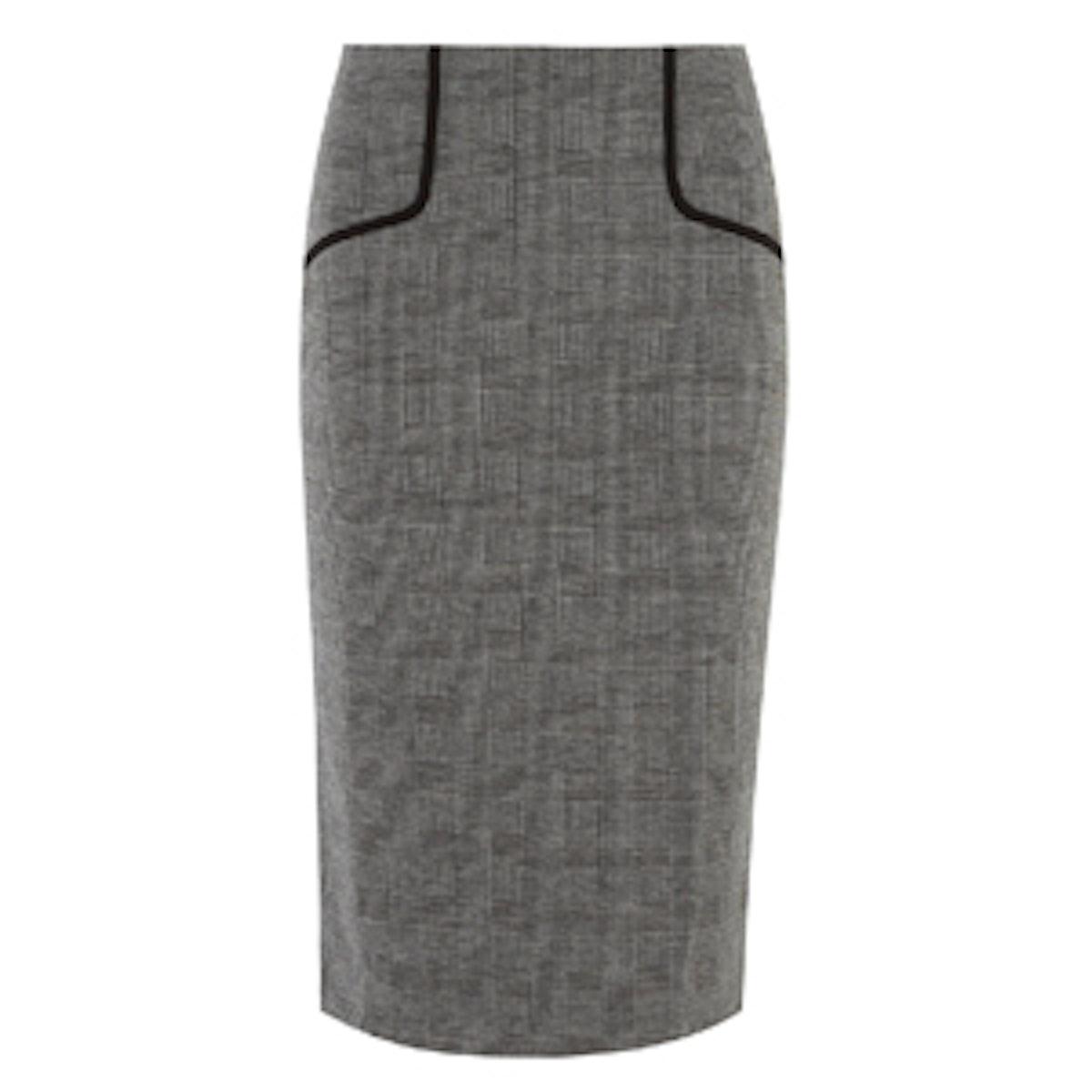 Grey Check Pencil Skirt