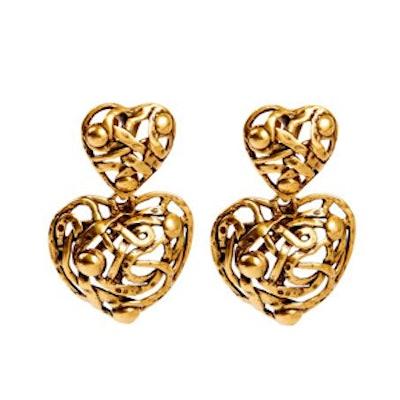 Gold Heart Drop Earring