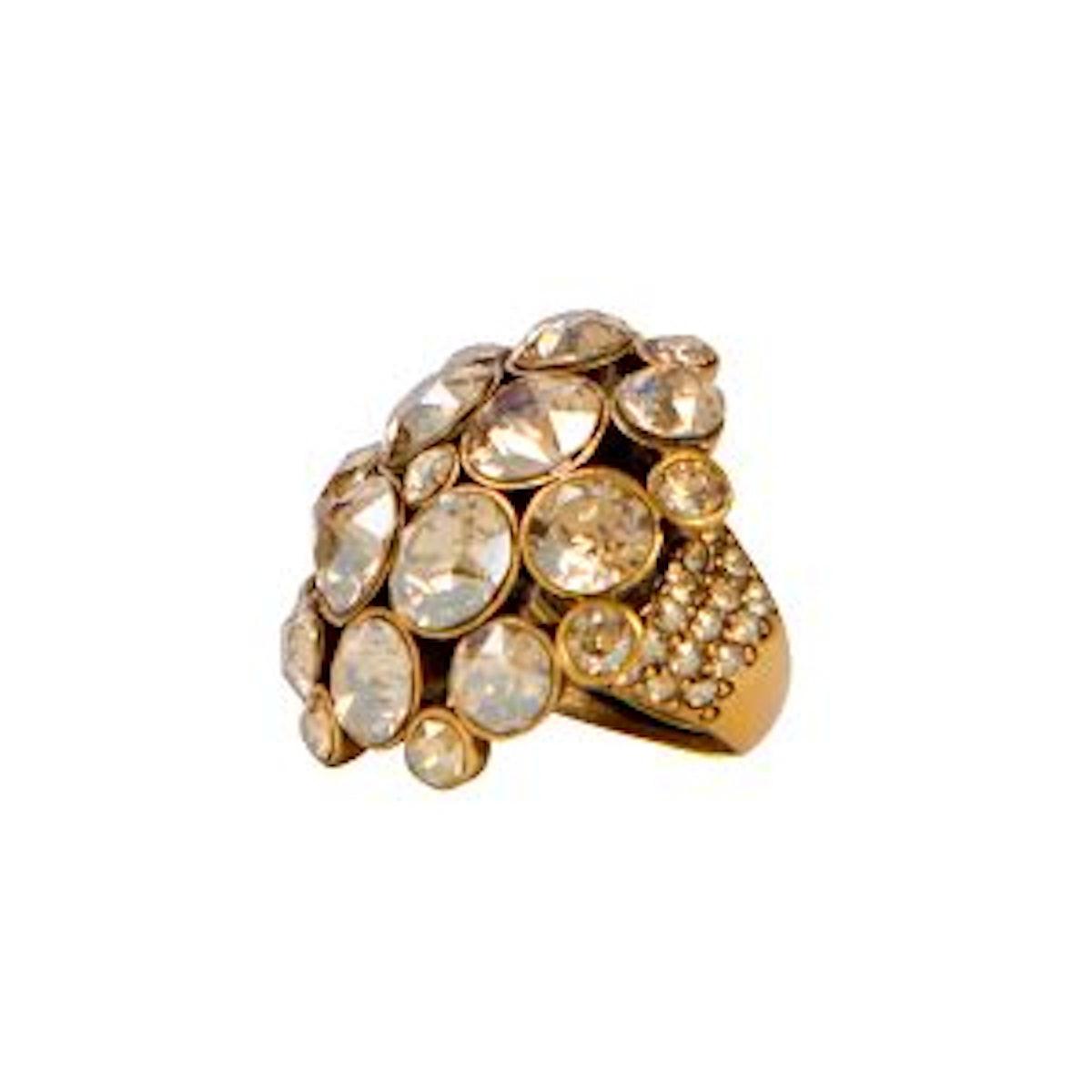 Swarovski Crystal Ring in Golden Shadow