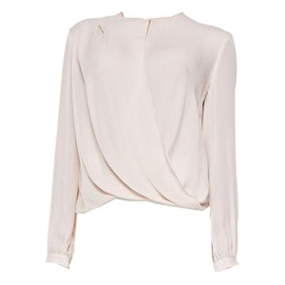 Drape-Front Long Sleeve Blouse